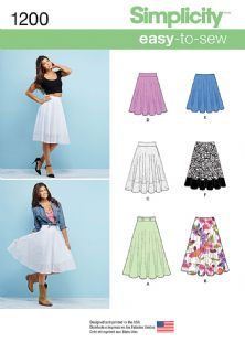 1200 Simplicity Pattern: Misses' 3/4 Circle Skirt with Length Variations